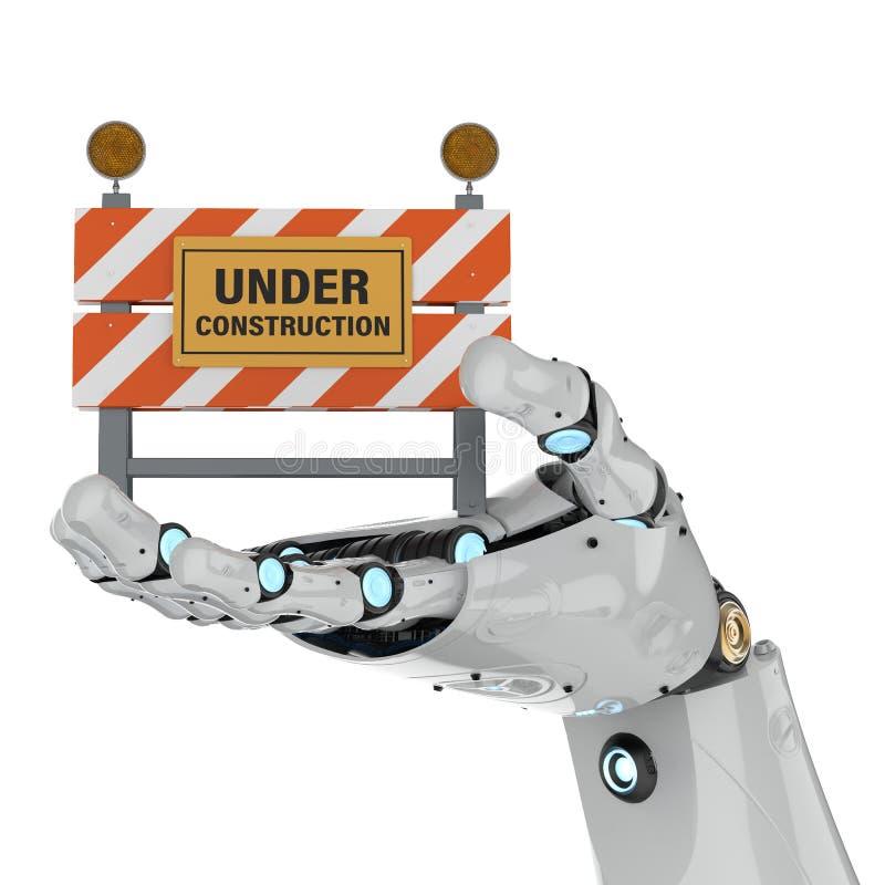 拿着建设中标志的机器人 皇族释放例证