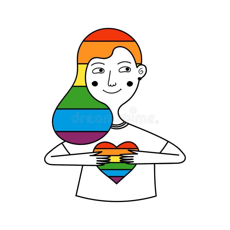 拿着彩虹心脏的女同性恋的女孩 在头发的彩虹 库存例证