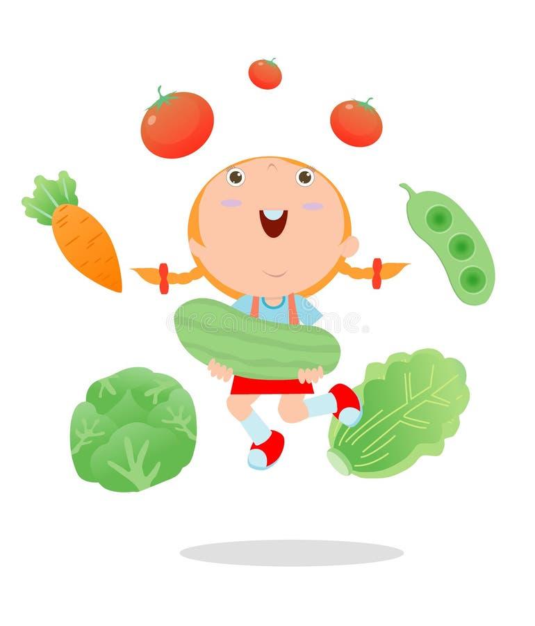 拿着微笑的活菜、孩子和菜,健康儿童食物概念,愉快的孩子的愉快的孩子拿着跳跃的vege 向量例证