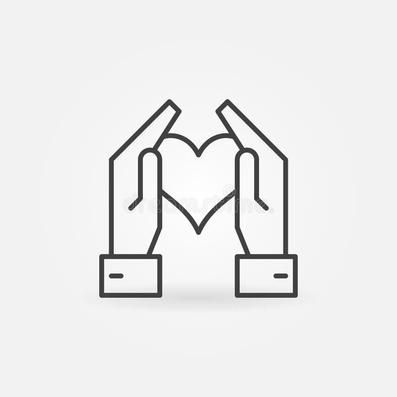拿着心脏在稀薄的线型的手传染媒介象 库存例证