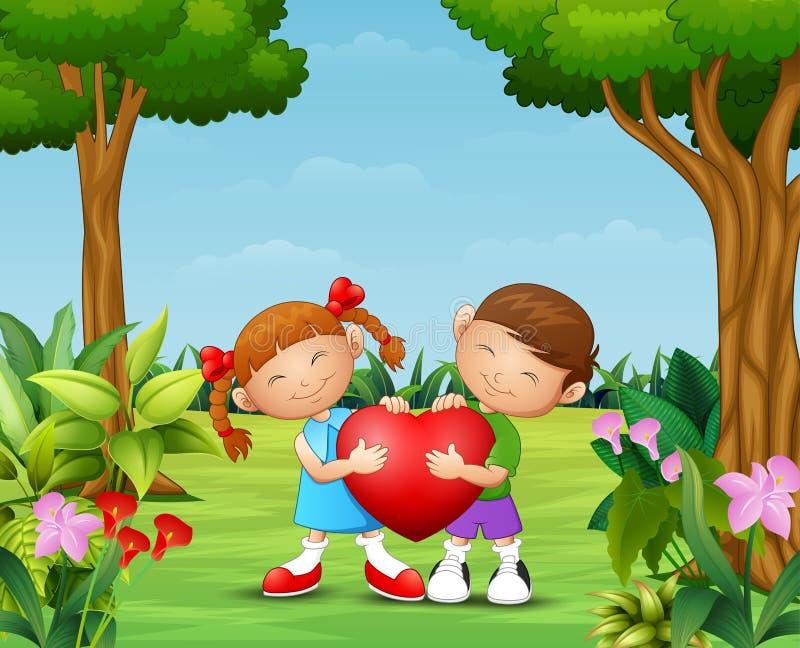 拿着心脏的动画片愉快的夫妇孩子在公园 库存例证