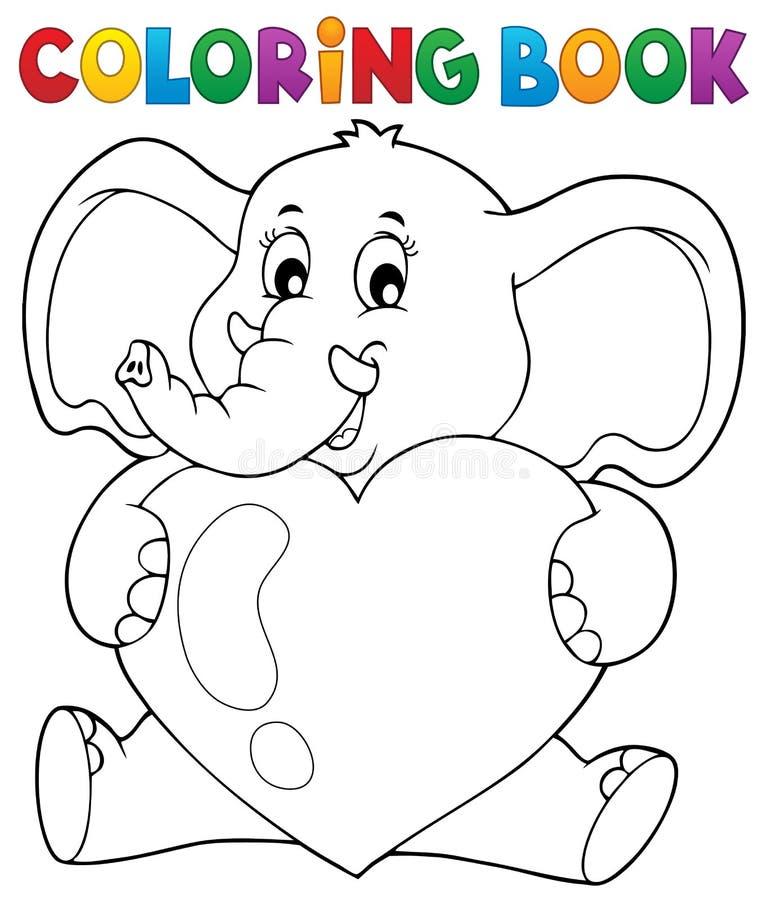 拿着心脏的彩图大象 皇族释放例证