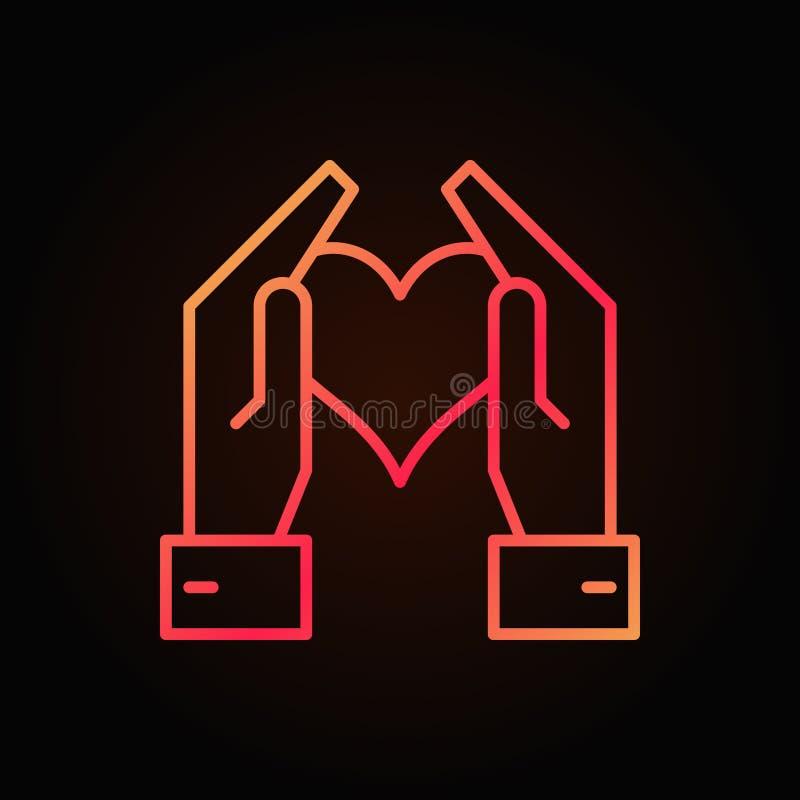 拿着心脏的手导航红色明亮的概述象 库存例证