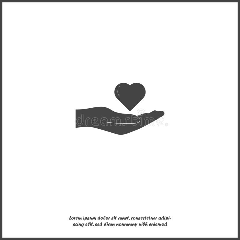 拿着心脏的手的传染媒介象 手和心脏象的平的设计在白色被隔绝的背景的 库存例证