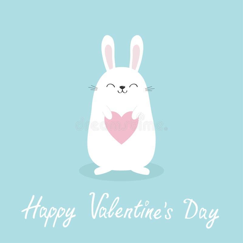 拿着心脏的白色小兔 日愉快的华伦泰 爱贺卡 滑稽的顶头面孔 逗人喜爱的kawaii漫画人物 婴孩G 向量例证