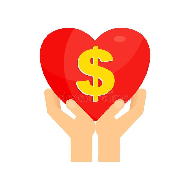 拿着心脏美元的手 皇族释放例证