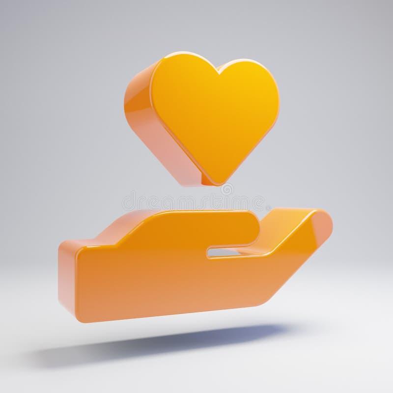拿着心脏象的容量光滑的热的橙色手被隔绝在白色背景 皇族释放例证