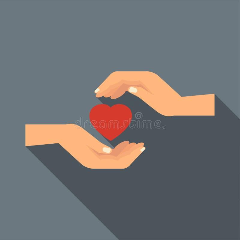 拿着心脏象,平的样式的手 皇族释放例证