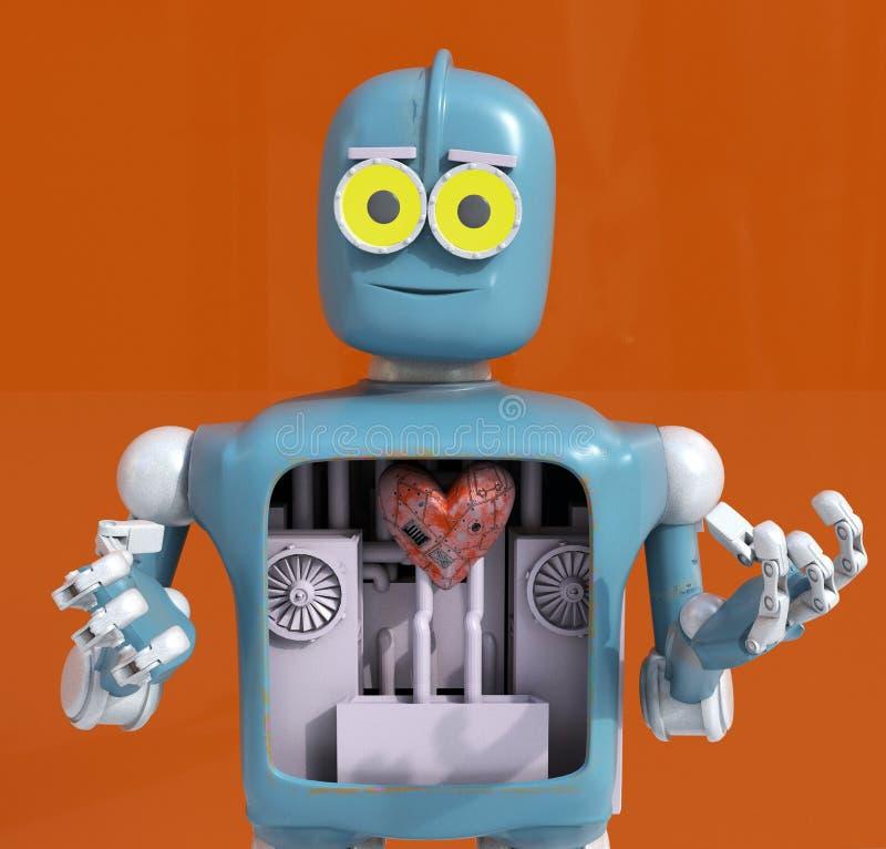 拿着心脏,金属心脏,3d的机器人回报 库存图片