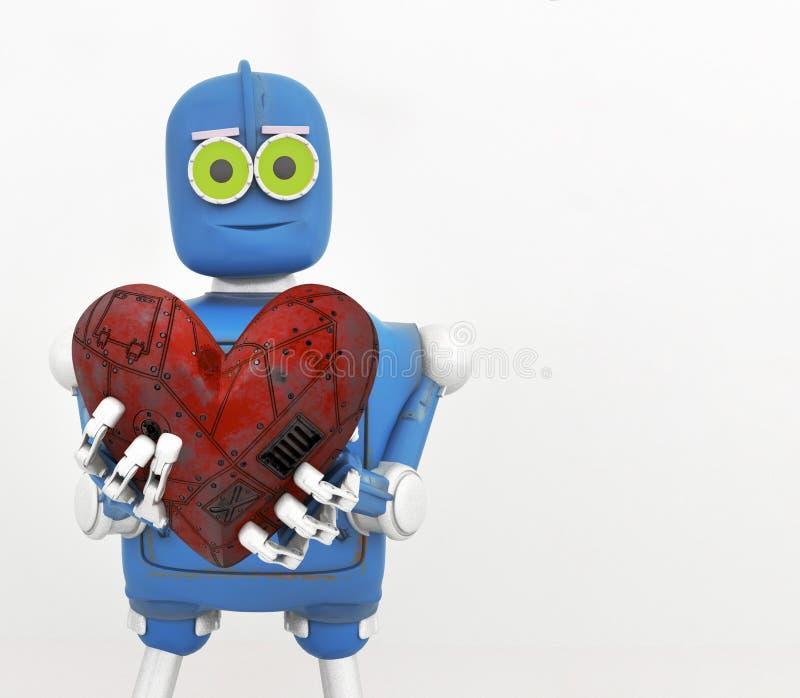 拿着心脏,金属心脏,3d的机器人回报 向量例证
