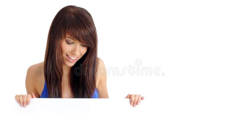 拿着性感的妇女的董事会 库存图片