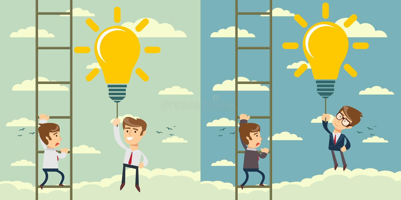 拿着想法电灯泡的愉快的商人作为气球飞行通行证爬梯子的另一个商人 皇族释放例证