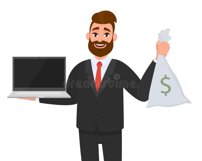 拿着或显示最新的全新的数字手提电脑个人计算机和现金袋子与美元的符号的年轻商人 r 向量例证