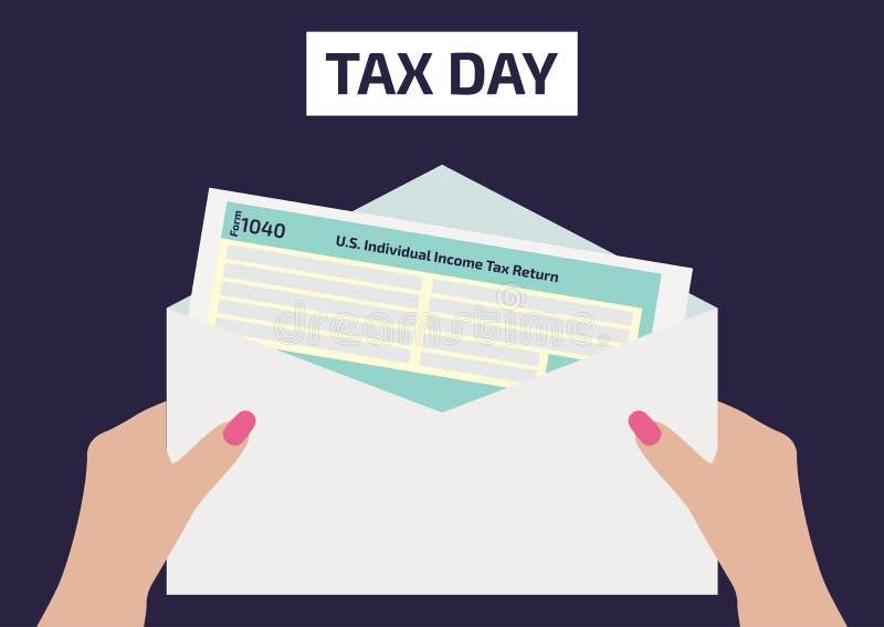 拿着所得税形式的妇女手1040 签署或填装形式的妇女 传染媒介例证为4月17日税天 Ve 库存例证
