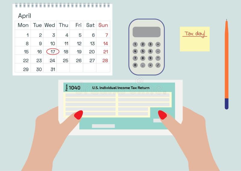 拿着所得税形式的妇女手1040 签署或填装形式的妇女 日历、笔和计算器 在Ap的税天 向量例证