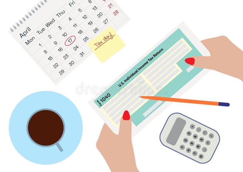 拿着所得税形式的妇女手1040 签署或填装形式,饮用的咖啡的妇女 日历、笔和计算器 向量例证