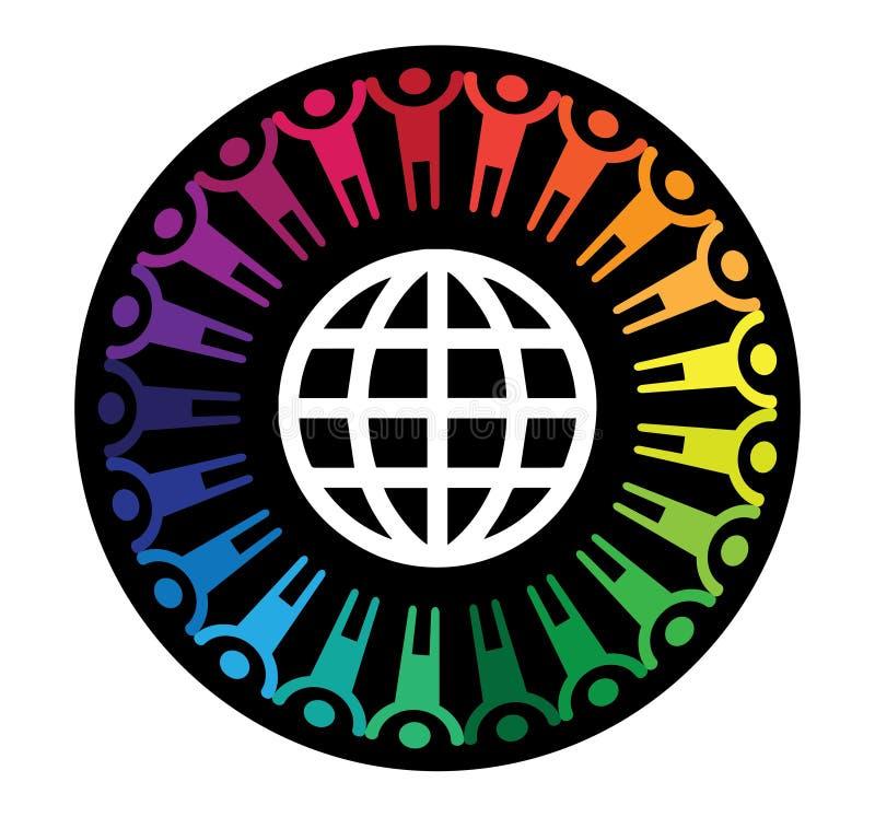 拿着手和世界的人们 库存例证