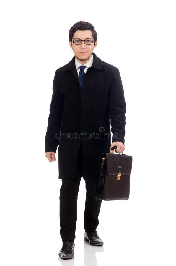 拿着手提箱的年轻人被隔绝在白色 免版税图库摄影