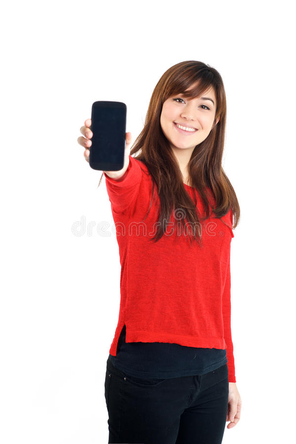 拿着手机的亚裔女孩 免版税库存照片