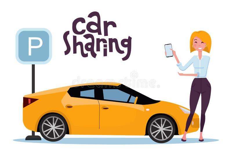 拿着手机的可爱的白肤金发的年轻女人在网上租用在停车场的一辆汽车 新的黄色汽车站立在停放的标志 向量例证