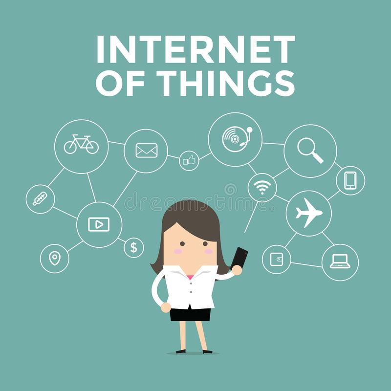 拿着手机的女实业家连接了到各种各样的对象,事互联网  向量例证