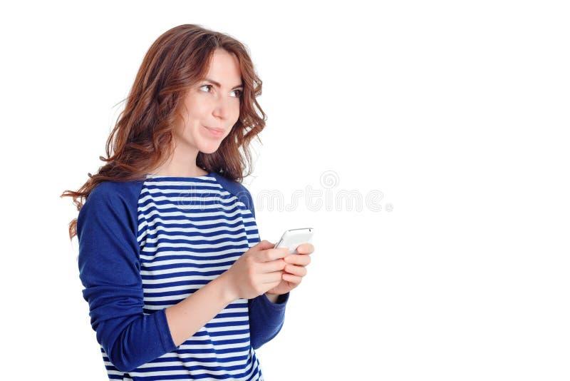 拿着手机的好女孩 库存照片