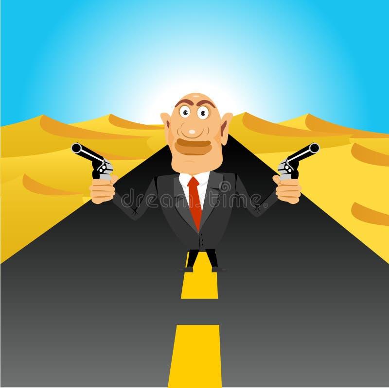 拿着手枪的残酷匪徒 皇族释放例证