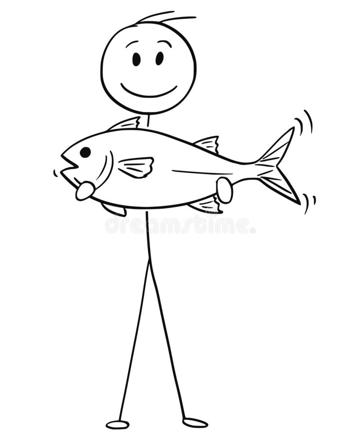 拿着抓住鱼的渔夫动画片 向量例证