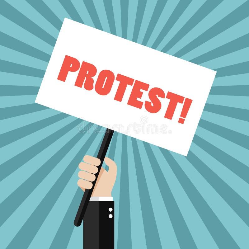 拿着抗议标志的手 皇族释放例证