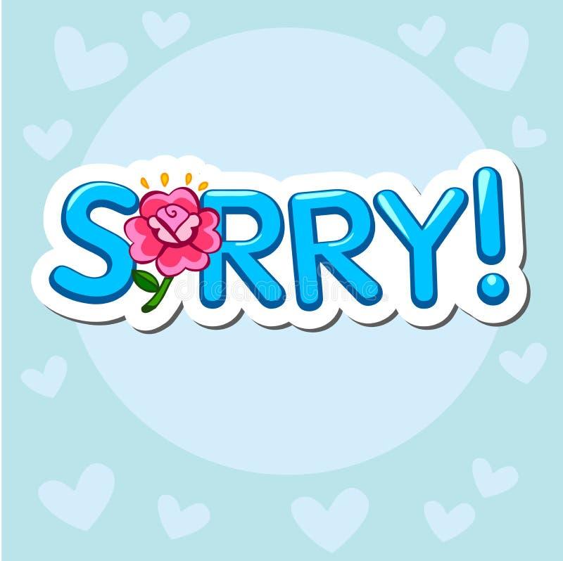 拿着抱歉的标志的哀伤的动画片 启发印刷术 向量例证