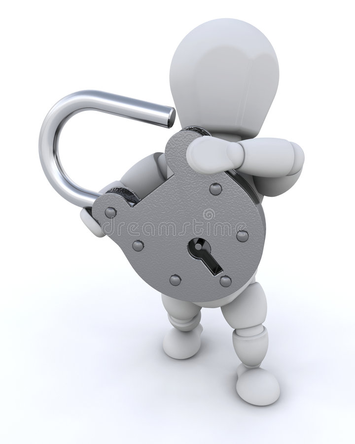 拿着挂锁人员 向量例证
