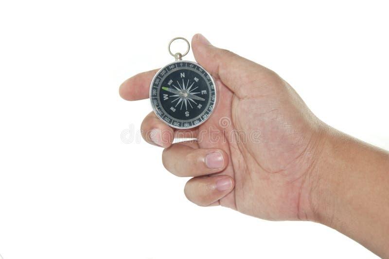 拿着指南针 库存图片