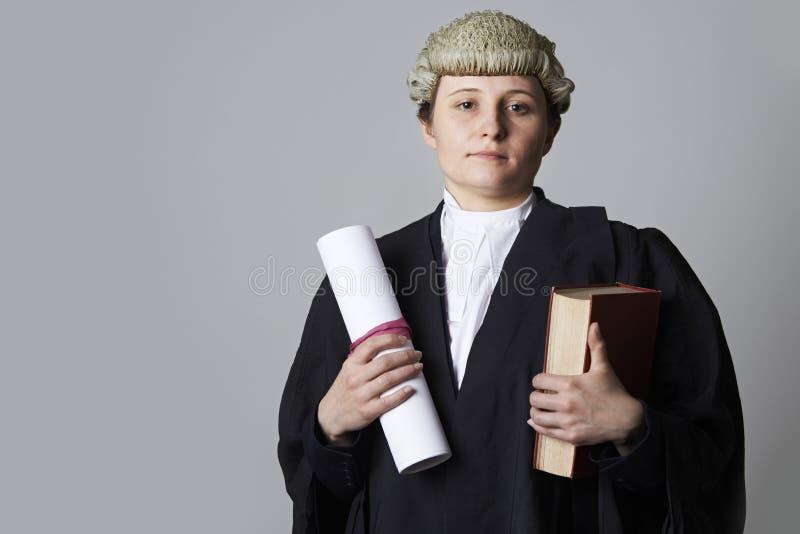 拿着摘要和书的女性律师演播室画象 库存图片