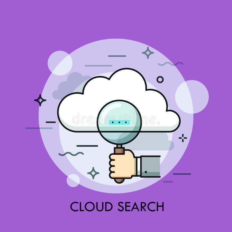 拿着放大镜和云彩的人的手 网上信息查寻和管理,大数据存储的概念和 皇族释放例证