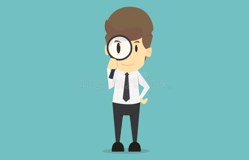 拿着放大镜的商人 企业succes动画片  向量例证