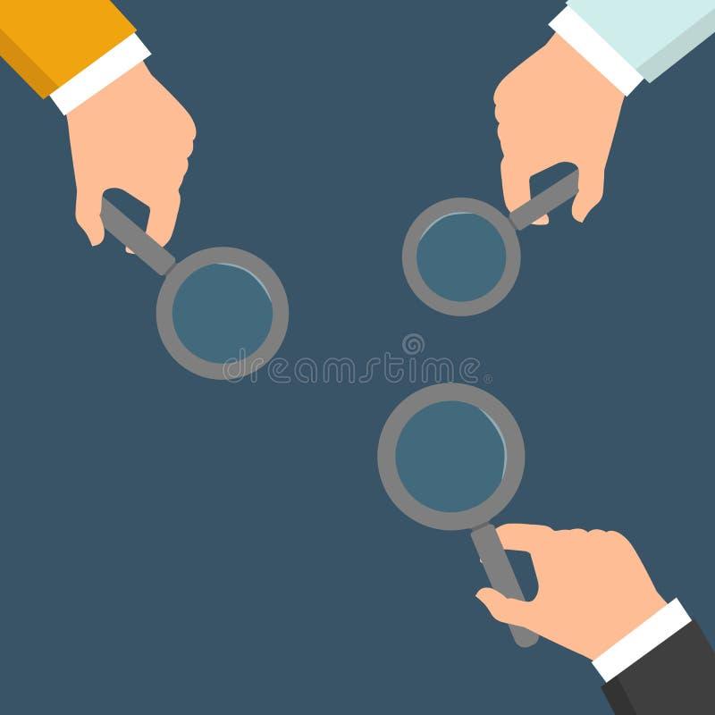 拿着放大镜的手 搜寻,查出和分析的概念 在平的设计的例证在蓝色backgr 库存例证