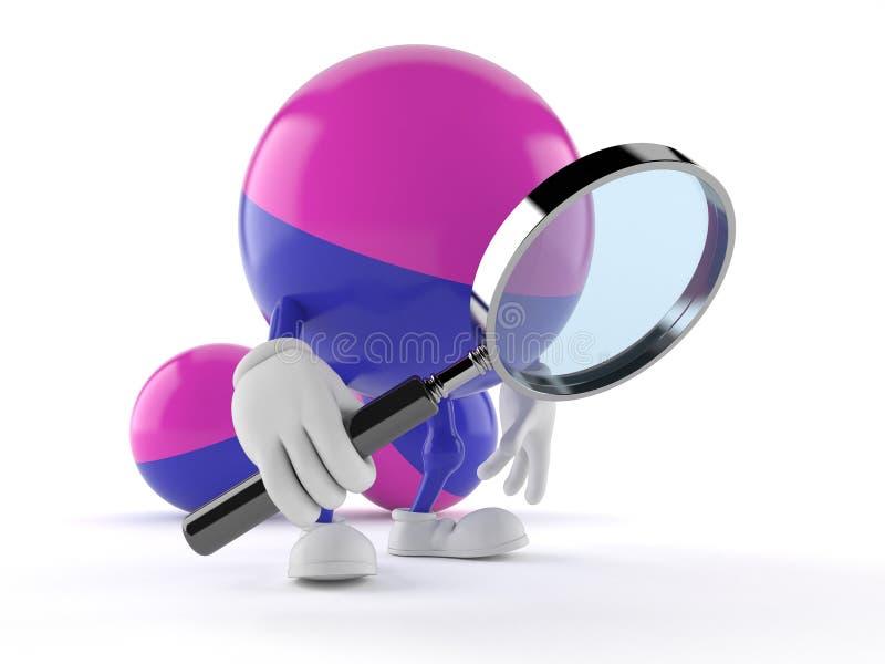 拿着放大镜的迷彩漆弹运动字符 库存例证