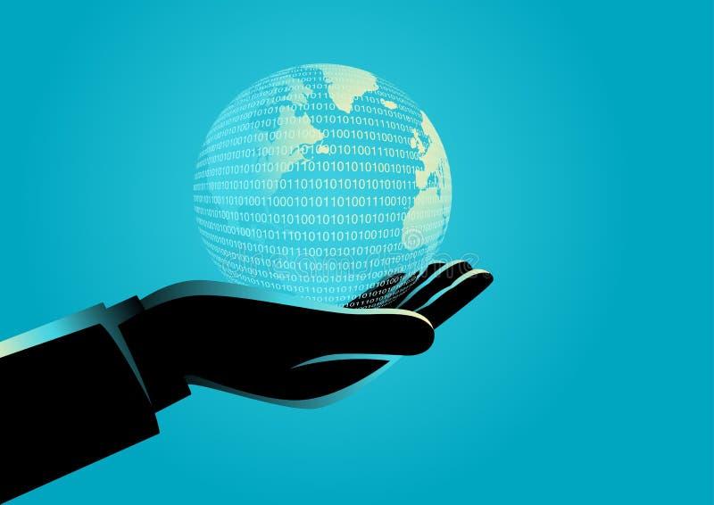 拿着数字式地球的商人手 向量例证