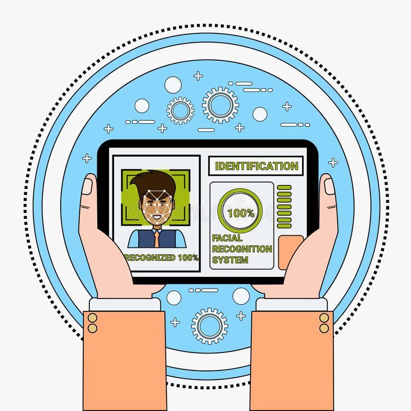 拿着数字式片剂扫描男性用户面貌识别和鉴定系统Biometrical证明的手 皇族释放例证