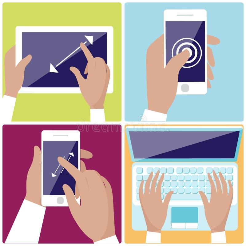 拿着数字式设备象的人的手设置 向量例证