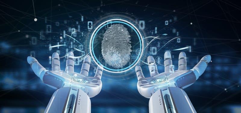 拿着数字指纹证明和二进制编码3d翻译的靠机械装置维持生命的人 向量例证