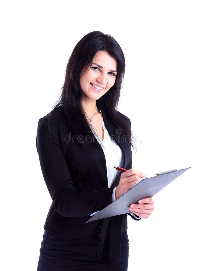 拿着文件的女商人 库存照片