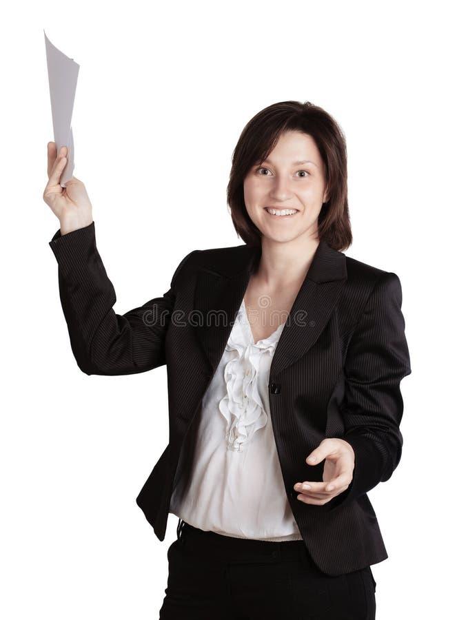 拿着文件的微笑的女商人手。 免版税图库摄影