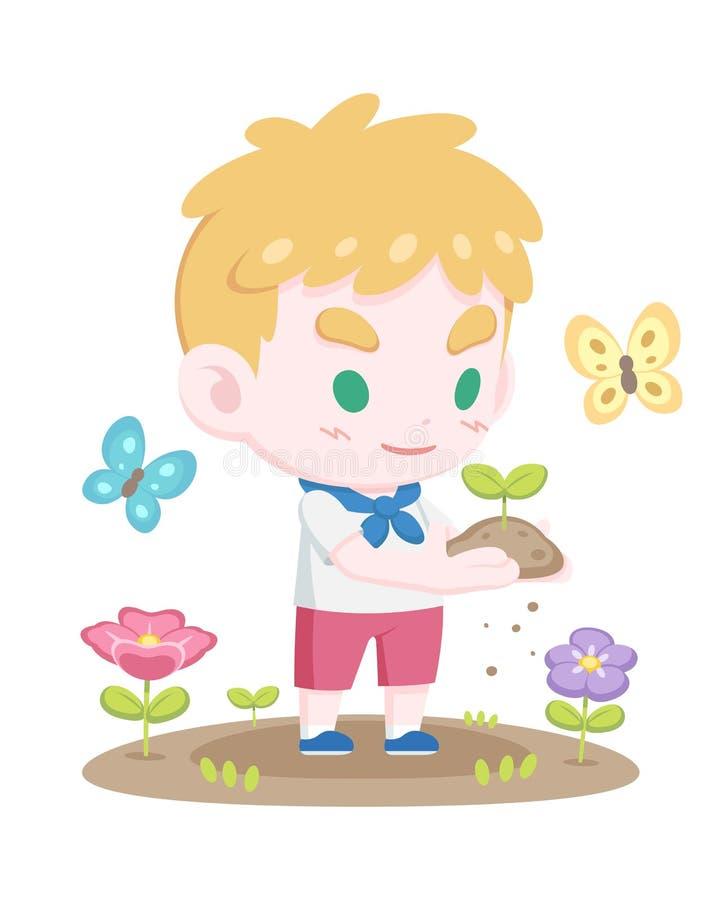 拿着新芽动画片例证的逗人喜爱的年轻白肤金发的童子军 皇族释放例证