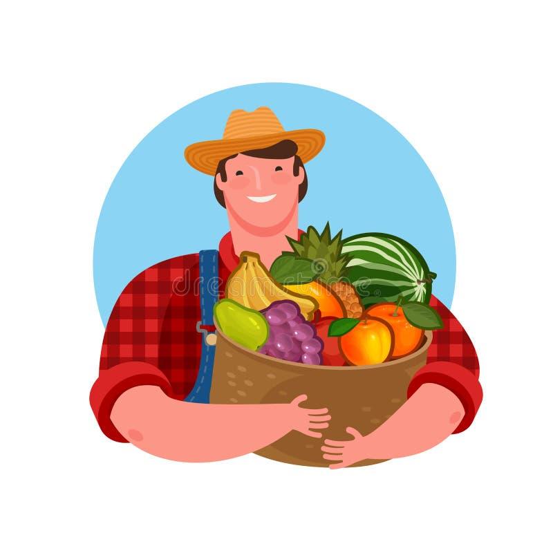 拿着新鲜水果的篮子农夫 天然产品,食物传染媒介例证 库存例证