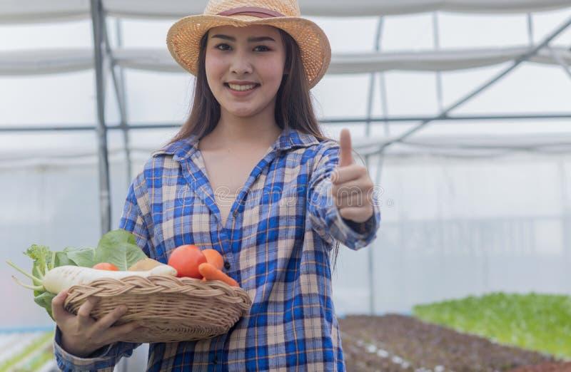拿着新鲜蔬菜和有机蔬菜的篮子亚裔妇女从农场 菜耕种和 免版税图库摄影