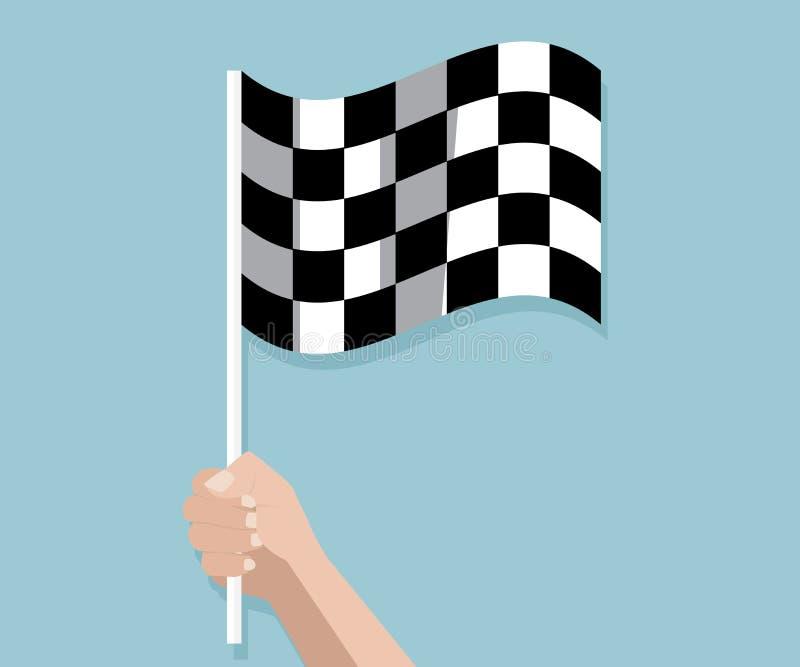 拿着方格的种族结束旗子的手 皇族释放例证