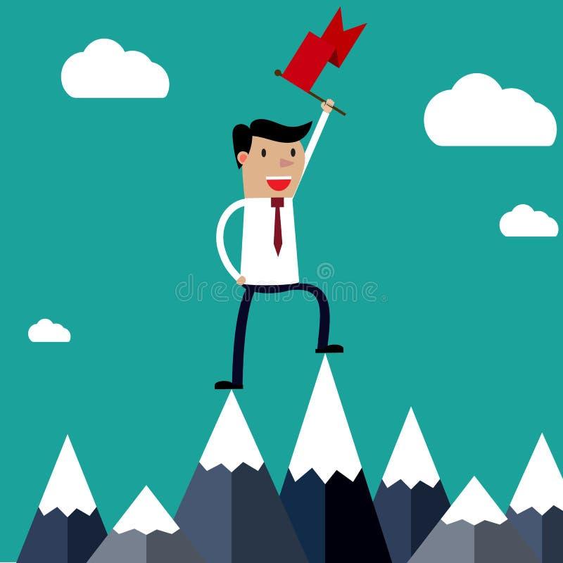 拿着旗子的成功的商人在山顶部 向量例证
