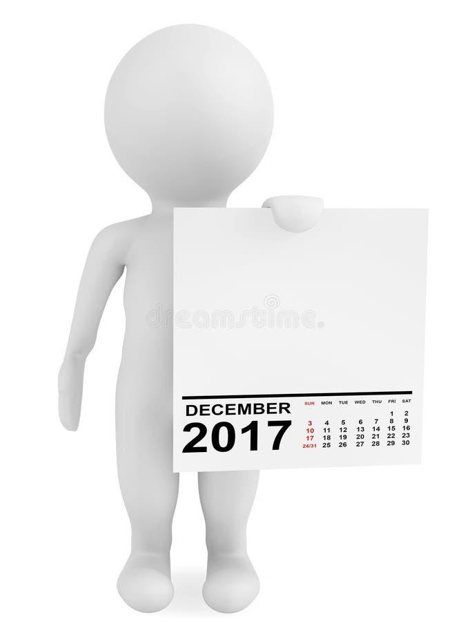 拿着日历2017年12月的字符 3d翻译 向量例证