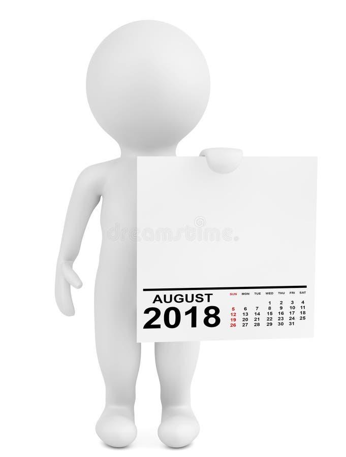 拿着日历2018年8月的字符 3d翻译 皇族释放例证